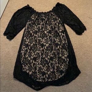 Over both shoulders lace dress